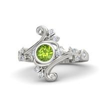 Classic Leaf Peridot, White Diamond Womens Anniversary Ring Solid 10k White Gold - $399.99