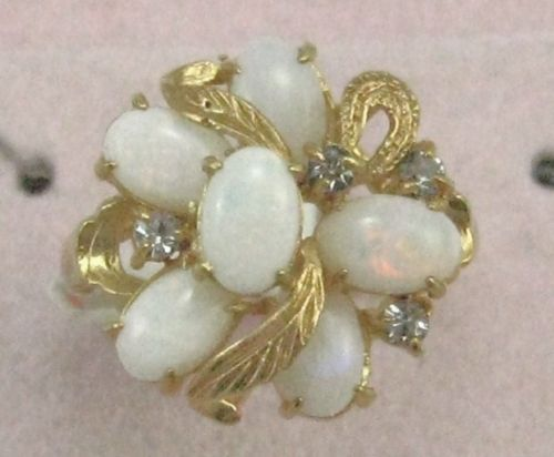 Vintage antique style 14K GP with 6 OPAL green red flame women cocktail Ring sz7