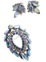 Vintage Signed Jewelry Sarah Coventry Brooch & Ears Blue Lagoon 1960's - $79.00