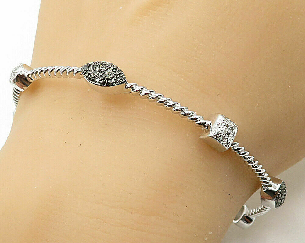 Primary image for 925 Silver - .50ctw Genuine Black & White Diamonds Bangle Bracelet - B2659