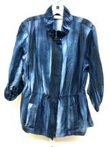 Chico's Blue Tye Dye Linen Blend Drawstring Waist Roll Tab Jacket Women'... - $33.25