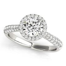 14k White Gold Halo Diamond Engagement Ring with Pave Band (1 1/3 cttw) - $5,763.47