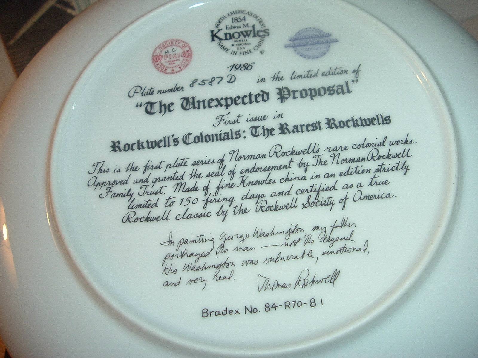 1986 Knowles Norman Rockwell The Unexpected Proposal Plate w/ COA and Box
