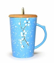 Ceramic Mug Floral Design with Spoon and Wood Lid Fine Porcelain Perfect... - $14.97