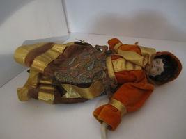 Elegant Repro Porcelain Brunette Doll Orange & Paisley Dress GORGEOUS! image 3