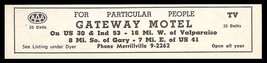Gateway Motel Ad Gary Valparaiso Indiana TV Baths 1954 Roadside Ad Travel - $10.99