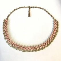 Vintage Choker Coro Francois?? Pink Enamel Gold Tone Tassel Dangle - $14.80