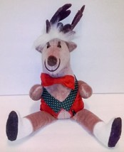 Plush Reindeer Decoration Sitting Hard Body Red Green Bow Tie Vest Christmas - $6.92