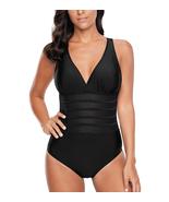 Women's V Neck Mesh One Piece Swimwear - $25.99
