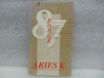 ARIES     1987 Owners Manual 16587