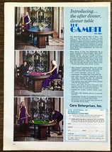 1972 Core Enterprises Print Ad The Gambit Convertible Dinner Game Table - $11.69