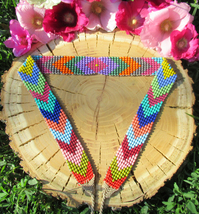 Geometric Ethnic Beaded Belt ~Colorful Native Beadwork ~Boho Chic Hippie... - $38.00