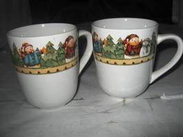 (2) Gibson Snowman Frolic Christmas MUGS Debi Hron - $5.00