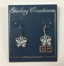 Butterfly Sterling Silver 925 China Clear Blue Rhinestone Dangle Earrings - $20.19