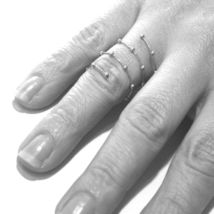 18K WHITE GOLD MAGICWIRE LONG FINGER RING, ELASTIC WORKED WIRE, SPHERES, SNAKE image 3