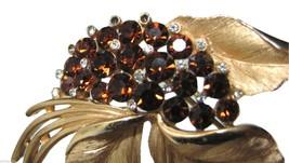 Vtg Crown Trifari Brooch Gold Leaf Amber Brown & Clear Rhinestone Large ... - $44.50