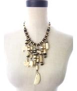 Vintage Bovine Bone Beaded Link Dangle Necklace Unique - $85.00