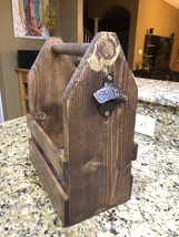 Six Pack Wooden Beer Caddy Wood Beer Tote With Bottle Opener Personalized - $34.99