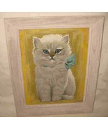 """Beautful Vintage 8 1/2"""" X 11 1/2"""" Paint By Number Cat Picture In Frame - $86.89"""