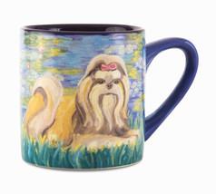 Shih Tzu Coffee Cup Mug Dog 16 oz Bonet Blue Paw Palettes New Puppy  - $15.83