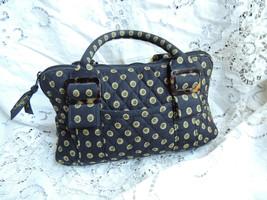 Cute Vera Bradley Vibrant Black Retired Handbag Pattern Quilt Purse - $28.45