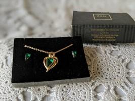 Avon Designer Signed Sentimental Birthstone Necklace Earrings Set May - $14.54