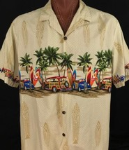 Royal Creations Hawaiian Aloha Surfing Willys Woodie Palm Trees Beige 2X... - $39.00