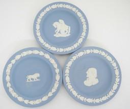 "Jasperware 4"" Round Trays Cream on Pale Blue Shakespeare Leo Lion Woman on Horse - $16.82"