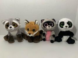 Ty Beanie Boos plush lot 4 Bandit Rocco pink raccoon Bamboo panda Fay fo... - $14.84