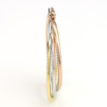 Twisted Tri-Color Silver, Gold & Rose Tone Hoop Earrings-United Elegance image 4