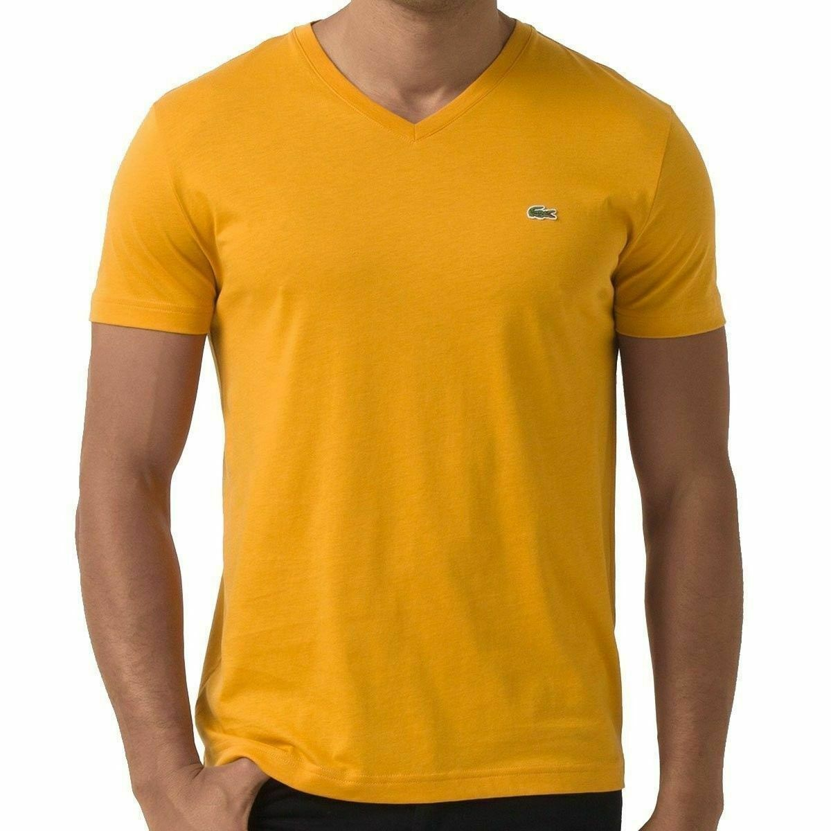 Lacoste Men's Premium  Athletic Cotton V-Neck Shirt T-Shirt Curcuma