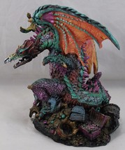 "7"" Blue Dragon Statue Sculptor Figurine ACK Trading Orange Wings  - €21,23 EUR"