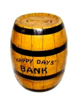 "1940s J Chein ""Happy Days"" Barrel Coin Metal Bank - $21.95"