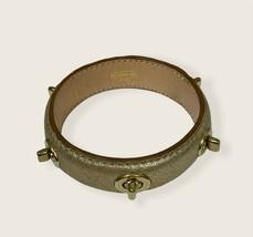 Coach Turnlock Metallic Nude Studded Leather Bangle Bracelet - $30.00