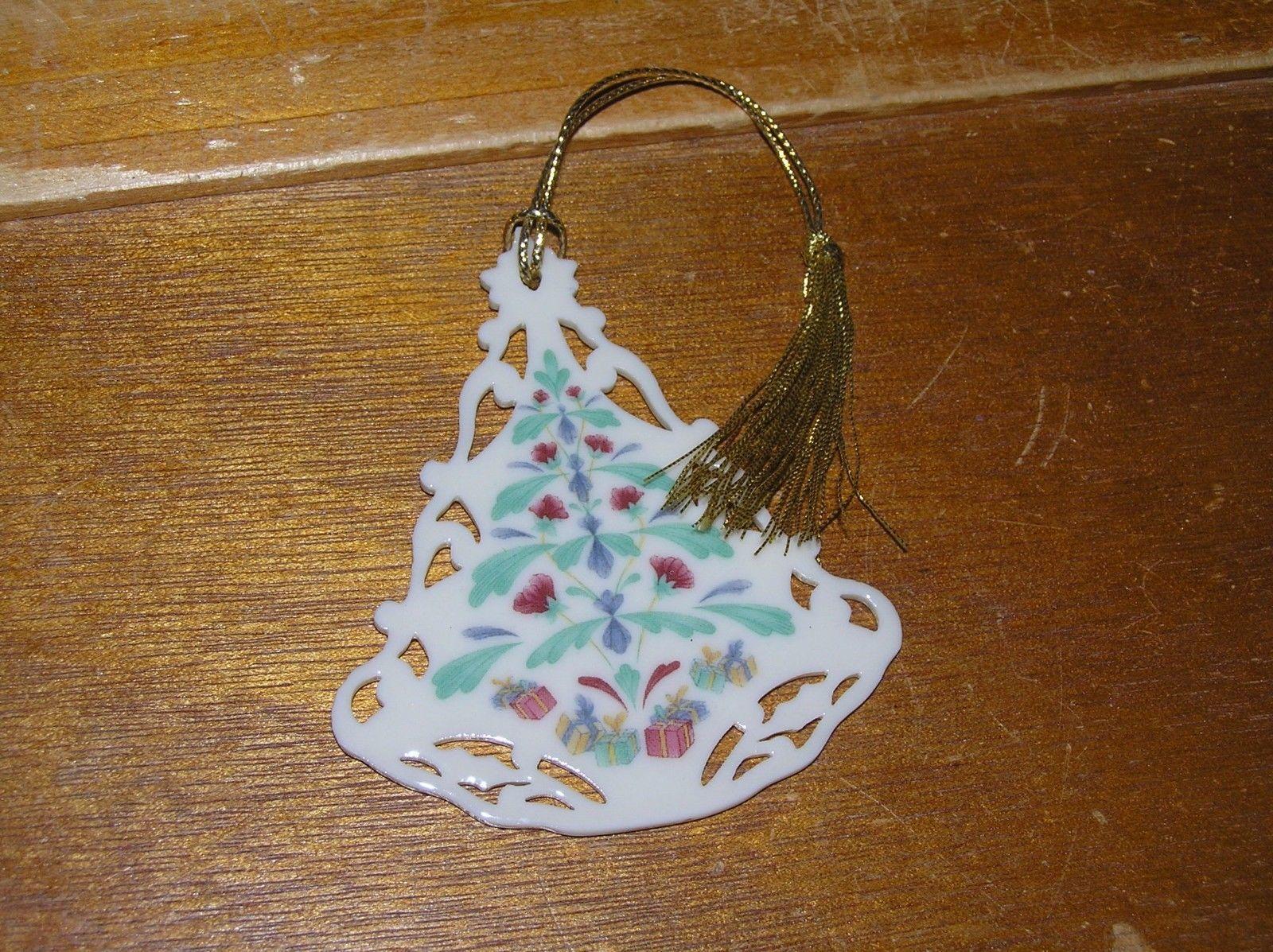 Vintage Lenox Victorian Lace Painted Cream Porcelain Christmas Tree Ornament –