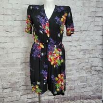 Vintage 90s SL Fashions Black Floral Button Front Romper Cottage Core Pr... - $46.74