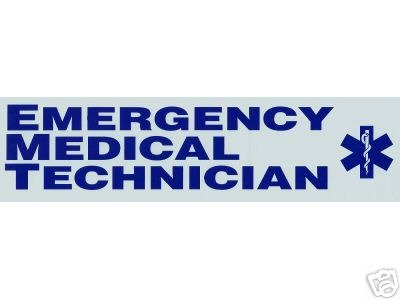 EMERGENCY MEDICAL TECHNICIAN Vinyl  Decal - E.M.T. Decal with Star of Life