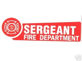FIRE DEPARTMENT SERGEANT Highly Reflective Vinyl Decal for Firefighters image 1