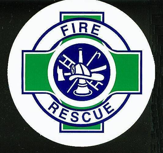 """FIRE - RESCUE Fire Department DECAL - 2 1/2"""" WHITE VINYL with Green Rescue Cross"""