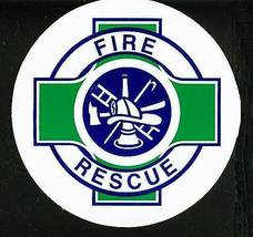 """FIRE - RESCUE Fire Department DECAL - 2 1/2"""" WHITE VINYL with Green Rescue Cross image 1"""