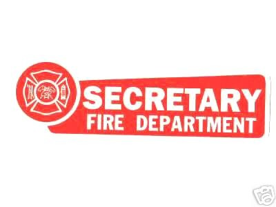 SECRETARY FIRE DEPARTMENT  Highly Reflective Red Vinyl Decal