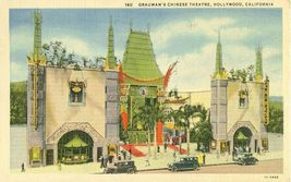 Grauman's Chinese Theatre, Hollywood California 1937 used linen Postcard  - $3.99