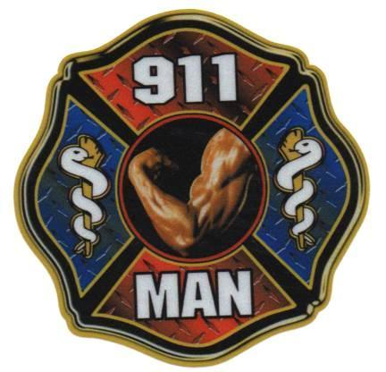 "911 MAN Full Color REFLECTIVE FIREFIGHTER DECAL - 4"" x 4"""
