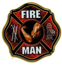 "FIRE MAN  Full Color REFLECTIVE FIREFIGHTER DECAL - 4"" x 4"" image 1"