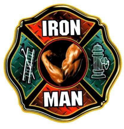 IRON MAN FIREFIGHTER REFLECTIVE FULL COLOR SMALLER FIREFIGHTER DECALS