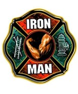 IRON MAN FIREFIGHTER REFLECTIVE FULL COLOR SMALLER FIREFIGHTER DECALS - $2.43