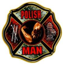 POLISH MAN Highly Reflective Maltese Cross Full Color Polish Firefighter  DECAL image 1