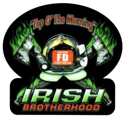 "IRISH BROTHERHOOD Reflective Full Color Irish Firefighter DECAL - 2"" x 2"""