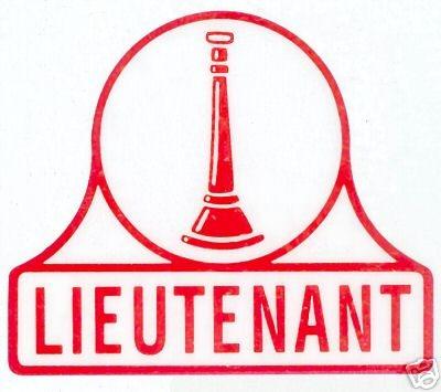 LIEUTENANT -  FIRE DEPARTMENT Inside Window Static Vinyl Decal