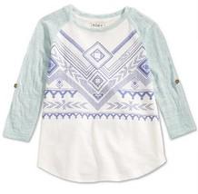 Roxy Girls' Big Aztec Raglan-Sleeve T-Shirt, Sea Spray, Size XS-7, MSRP $34 - $14.95